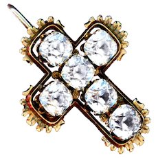 Brooch/Pendant--19th C. Bright Paste Cross in 14 Karat Gold