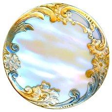 Button--Large Late 19th C. Paris Iridescent Pearl in Parcel Gilt Rococo Border