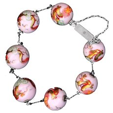 Bracelet--Early 20th C. Hand Painted Dragons on Palest Pink Porcelain Balls in Silver