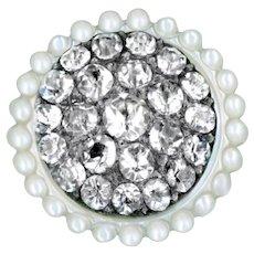 Button--Exquisite 18th C. Georgian Pave Paste in Pearl--Medium