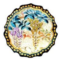 Button--Fine Late 19th C. Satsuma Pottery Wisteria on Lotus Form--Medium