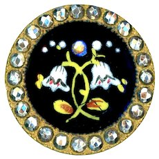 Button--Uncommon Late 19th C. Enamel Snow Drops on Brass with Cut Steels