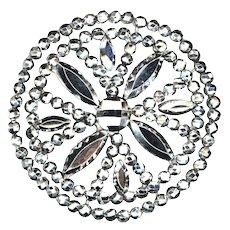 Button--Exceptional Large Early 19th C. Open Work Cut Steel Quatrefoil Design