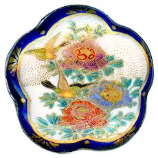 Button--Large Late 19th C. Japanese Satsuma Green-gold Birds in Flowers