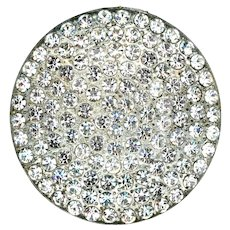 Button--Giant Vintage 20th C. Pave Rhinestones in White Metal Backmark