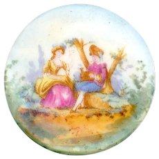 Button--Large Mid-19th C. Soft Paste Polychrome Transfer Porcelain Pastoral Scene
