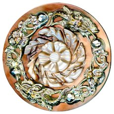 Button--Mid-19th C. Carved Pearl with Metal Overlay Grotesque Faces on Border