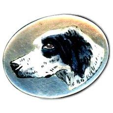 Button--Edwardian Era Enamel en Plein on 0.800 Silver Springer Spaniel