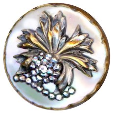Button--Large Mid-19th C. Cut Steel &B Brass Flora-foliate on Pearl in Brass