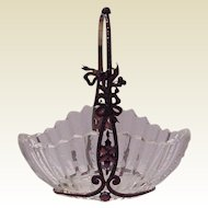 Stunning Cut Glass Basket with Garnet and Gold Filled Frame -Circa 1900