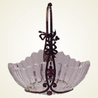 Stunning Basket of Cut Glass with Garnet Decorated Frame -Circa 1900