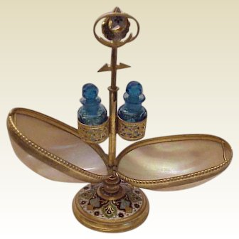 M-O-P Palais Royal Perfume with Champleve Stand and Hand Cut Bottles - Circa 1890