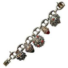 Italian 800 Silver & Gemstone Etruscan Revival Charm Bracelet - 1934-44 Mark