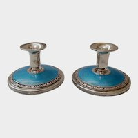 Sterling & Guilloche Enamel Console Candle Sticks / Holders - C. 1950