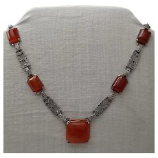 Circa 1930 Sterling, Carnelian & Marcasite Necklace