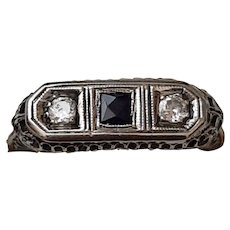 18K White Gold, Diamond & Synthetic Sapphire Ring - C. 1925