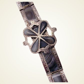 Scottish Pebble /  Agate and Sterling Bracelet - Circa 1865