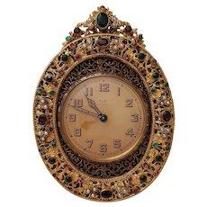 French / Austrian Dore Bronze Clock w/Faux Jewels - Circa 1925