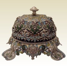 Shiebler Sterling and Plique a Jour Call Bell - Circa 1900