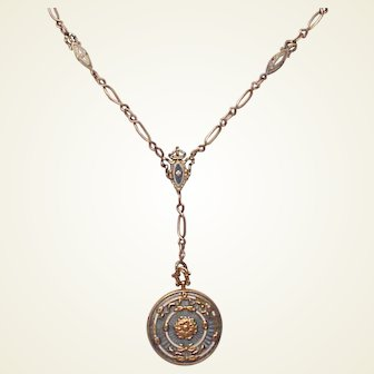 Gold Plated Enamel Locket and Chain - Circa 1910