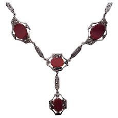 Sterling, Carnelian and Marcasite Necklace - C. 1930