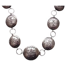 Native American Silver Link Concho Belt