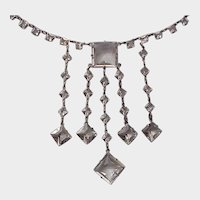 900 Silver and Glass Art Deco Necklace - C. 1925