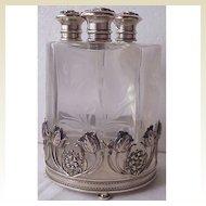 Stunning Art Nouveau Sterling & Floral Glass 3 Perfume Bottle Decanter