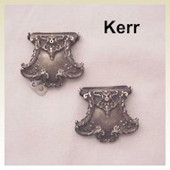 William B. Kerr Sterling Art Nouveau Suspender Clips - Dated 1902