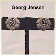 Georg Jensen Sterling Screw Back Earrings # 102 - Circa 1960