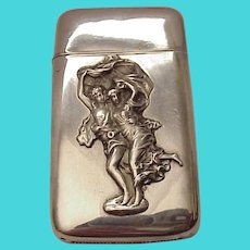 "Sterling Mistress Match Safe of ""The Storm"" - C. 1900"