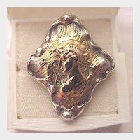 Sterling & 14 kt. Roman Deity Pin - Circa 1895