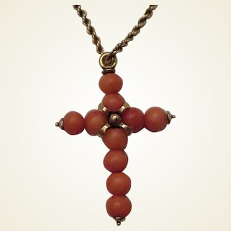 14K Coral Bead Cross with Chain - C. 1900
