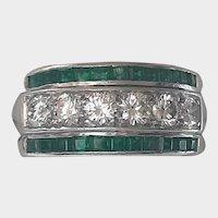 Diamond and Emerald Platinum Ring - C. 1945