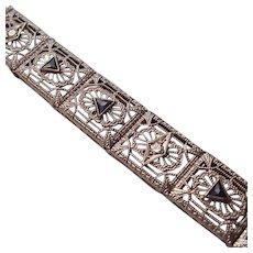14K, Diamond & Synthetic Sapphire Filigree Bracelet - C. 1925