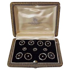 Larter 14K and Onyx Boxed Tux Set - Circa 1920