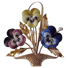 Hedges 14K and Enamel Pansy Pin - Circa 1910
