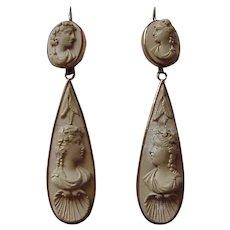 Lava Cameo 9K Day to Night Earrings - Circa 1860