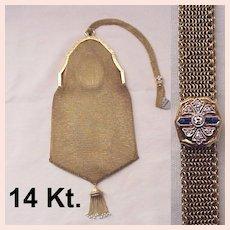 14 Kt. Gold Bag W/ Diamond & Sapphire Slide - C. 1925