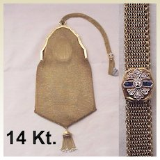 14 Kt. Gold Bag with Diamond & Sapphire Slide - Circa 1925