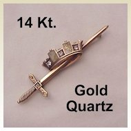 14 Kt. Rose Gold, Diamond and Gold Quartz Pin - Circa 1880