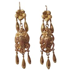 14K Victorian Floral Earrings - Circa 1900