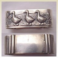 European 835 Silver Baby / Child's Napkin Ring of Ducks - Circa 1925