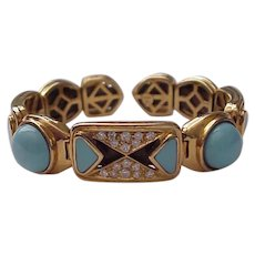 18K, Turquoise, Diamond Cuff Bracelet