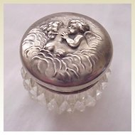 Loves Dream (Cupid & Psyche) Art Nouveau Rouge / Vaseline Pot - Circa 1905