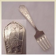 "Watrous Mfg. Co. ""Mary Had A Little Lamb"" Baby Fork - Dated 1934"