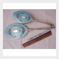 Saart Bros. Sterling, Enamel Mirror, Brush, Comb Set