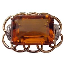 Retro 18K, Paste Citrine, Diamond Pin -C.1945
