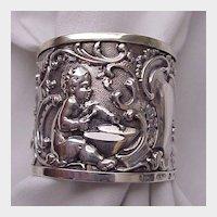 English Sterling Cherub Napkin Ring - Birm 1889