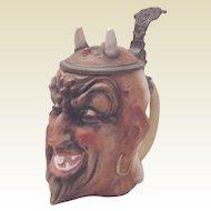Ernst Bohne & Sohne 1/4 L Porcelain Satan Stein - Circa 1910